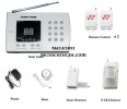 Wireless home alarm system with connection to a telephone line